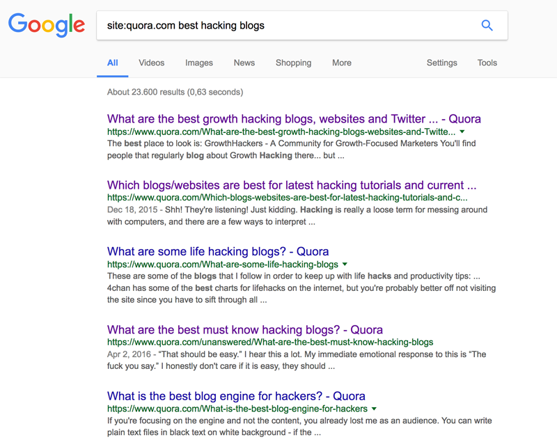Quora search for hacking blogs